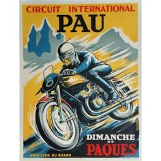 Affiche ancienne originale Pau Circuit International Moto club du Béarn - R GARCIA