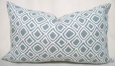 Decorator Pillow Cover - Blue - Surf - White - Duralee-12x20 or 14x20- Accent Pillow - Lumbar