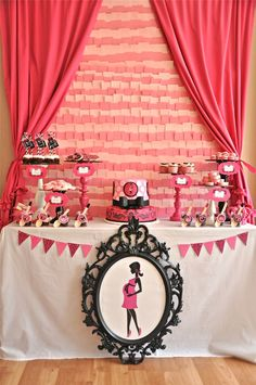 I am loving everything about this Pink and Black Glam Baby Shower dessert table by Bird's Party!!
