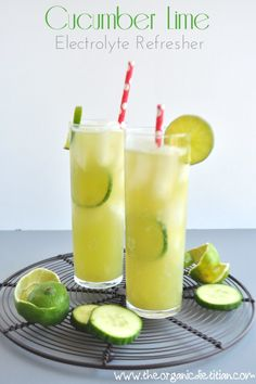 If you don't have a juicer you could just add slices of cucumber to the coconut water and refrigerate for a couple of hours then add ¼ cup lime juice.      ½ cucumber     2 limes, peeled     1½ cups coconut water