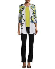 -6KDX Toula  Floral-Knit Long Jacket, Multi Colors, Petite Scoop-Neck Tank, Sour Apple, Petite