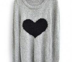 Light Grey Long Sleeve Love Heart Sweater 30.00