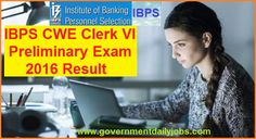 IBPS Clerk Result 2016 Declared Check Pre Exam Score Card