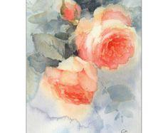 Aquarell Rosen Original Gemälde Blumen Muttertag von CMwatercolors