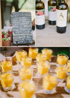 cocktail hour chalkboard drink menu; Golden Beet & Sweet Yellow Pepper Soup Sips