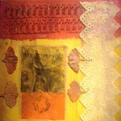Nino Bellantonio. 'Three.' Encaustic Collage with mixed media on wood. 20cm x 20cm; 23cm x 23cm in platform frame). SOLD