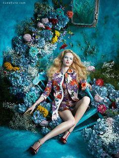 Sandrine Dulermo 和Michael Labica 时尚摄影欣赏《Tutte in fiore》 色彩 硬照 时尚摄影 摆拍 性感 女性 复古