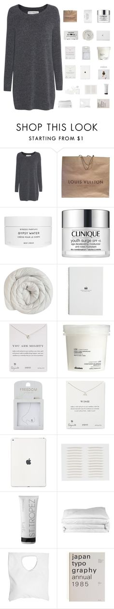 """day #5 challenge"" by itsbrea ❤ liked on Polyvore featuring Fine Collection, Louis Vuitton, Byredo, Clinique, Dogeared, Davines, Topshop, St. Tropez, Frette and Jennifer Haley"