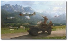 AVIATION ART HANGAR - Victory Salute by Matt Hall (P-51 Mustang)
