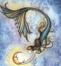 Deep Sea Moon Fantasy Mermaid Art Illustration by Molly Harrison Duvet Cover by mollyharrisonart Mermaid Poster, Mermaid Artwork, Mermaid Drawings, Posca Art, Mermaid Fairy, Mermaids And Mermen, Fantasy Mermaids, Mermaid Tattoos, Tatoo Art