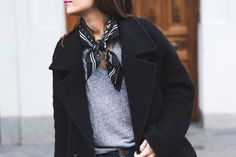 the knotted scarf is a nice detail; it dresses up a simple tee
