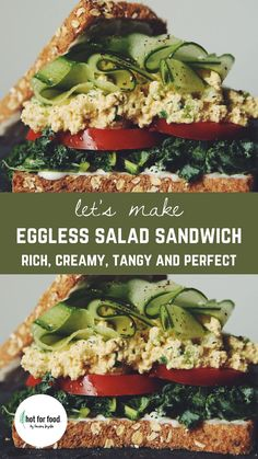 This eggless sandwich filling is rich, creamy, tangy and perfect to pack in protein at lunch!