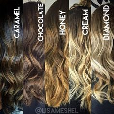 A great reference guide when consulting about balayage. What's great is there are so many options whether you prefer warm or cool tones.