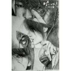 Who drew this it's beautiful Kdrama, Drama Korea, Korean Drama, Lee Joon Gi Wallpaper, Moon Lovers Drama, Scarlet Heart Ryeo Wallpaper, Sun Projects, Kpop Girl Bands, Wang So