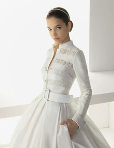 Pleats, lace, long sleeved wedding dress. I'm gonna need this cause I'm always cold....