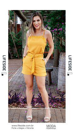 Shorts Viscose, Cute Dresses, Short Dresses, Yellow Shorts, Mini Skirts, Jumpsuit, Rompers, Plus Size, Dress Outfits