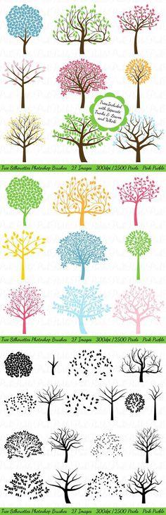 Tree Silhouettes Photoshop Brushes. Brushes