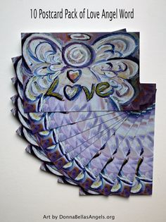 Love Word Pink Angel Inspirational Art Painting Postcard (10 Cards Package) by DonnaBellas Angels