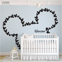 disney Mickey Mouse wall decal - baby room decals - mice ears - PERSONALIZED BABY NAME - Vinyl Wall Decal - baby stickers - baby crib  851 on Etsy, $39.00
