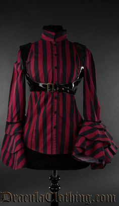 Red Striped Buckle Blouse