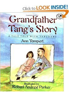 tangram tale is framed by the loving relationship between a grandfather and granddaughter as they share the story under the shade of an old tree, and culminates in a tangram of an old man and a girl likewise resting. Tangrams, ancient Chinese puzzles in which a square is cut into seven traditional pieces (each called a tan), are arranged into patterns used to help tell the story.