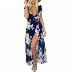 Simplee Apparel Sexy v neck floral summer dress Evening wedding party dress boho women dress Vintage maxi vestidos girl dresses