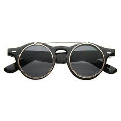 15fa3b0b14 Old-School Small Retro Steampunk Circle Flip Up Glasses