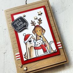 Day 16 of #thedailymarker30day  The first time I saw the 'Furry Christmas Friends' Stamp Set by @simonsaysstamp on a card from wonderful @debbyhughes and fell in love instantly. I bought it in spring and finally I can play with. It's such a lovely Set. The Furry Friends are colored with Distress Inks and Zig's. The hats and the scarf were embellished with Spectrum Noir Sparkle Pen. 🐶🎅🐱🐶🎅🐱🐶🎅🐱🐶🎅🐱🐶🎅🐱 #handmade #handmadecard #handmadecards #card #cardmaking #papercraft…