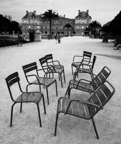 https://flic.kr/p/vUm7D5 | Early for the Meeting | A collection of chairs in the Luxembourg Gardens, Paris.