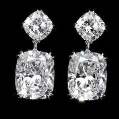 RONALD ABRAM. 15.40 carat Cushion Cut Diamond Earrings.