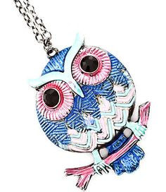 I love this, blue owl necklace