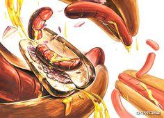 대구그린섬 미술학원 기초디자인 학생작 감상 #단국대 #핫도그 #핫도그 #소스 #소세지 #단국대3부 #단국대기초디자인 #주제연출 #구도 #자연물표현 Weird Food, Food Illustrations, Copic, Good Old, Still Life, Surrealism, Design Art, Composition, Typography