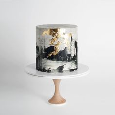 "1,817 Likes, 15 Comments - Cake Ink. (@cake_ink) on Instagram: ""Monochrome cake with gold leaf #onlineorders #cakeink"""