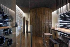 Tresarca Residence is a sensational modern designed family home that was the creative vision of assemblageSTUDIO, located in Las Vegas, Nevada. Las Vegas Strip, Oasis, Wine Cellar Design, Desert Design, Hanging Light Fixtures, Desert Homes, Interior Design Services, Interior Ideas, Interior Inspiration