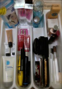 Usos del porta-cubiertos 04.- Para organizar maquillaje.