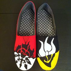 RWBY Symbols canvas shoes by HellelujahsCreations on Etsy<<< Lets play spot the Bumblebee and White Rose