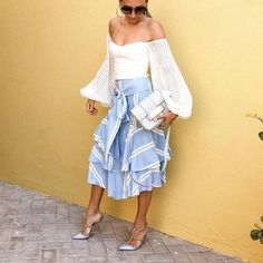 $20 Cute Off The Shoulder Flare Sleeved Bell Sleeve White Lace Edge Blouse Matched With Pastel Pale Blue And White Striped Asymmetrical Ruffle Midi For The Perfect Summer Evening Outfit