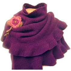 Ruffle Wool Purple Shawl Hand Knit, Crochet Flower. Romantic purple colored hand knitted shawl! Wrap yourself in a warm cuddle with this fabulous shawl, perfect for fall and winter! Removable crochet flower brooch. Care instructions: For best results, hand wash and lay flat to dry. Dry cleaning is fine, too. Please note that the colors of the products may differ slightly due to the different color resolutions of individual computers, tablets and mobile devices.