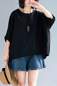 0b2e60a35269f3 Loose black chiffon tops Fashion Life o neck Batwing Sleeve loose Summer  tops. Linen Blouse