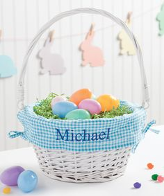Look at this white pink wicker personalized easter basket on white blue wicker personalized easter basket by personalized negle Images