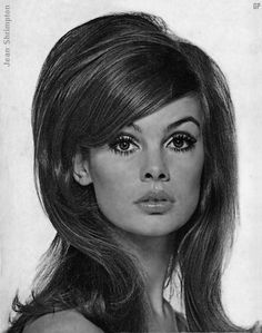 Jean Shrimpton with teased #hair and wide eyed make up #1960s. I love hairstyles from the 60's!
