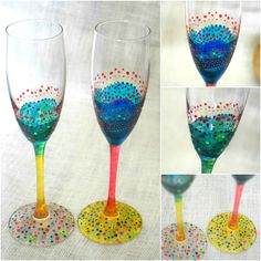 1 Pair Stained glass champagne flute anniversary birthday celebration wedding