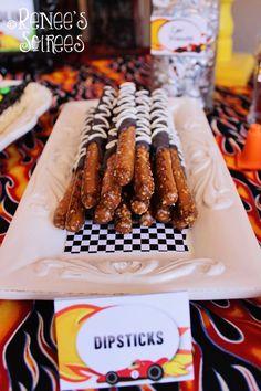 Hot Wheels Racing Car Party pretzel dipsticks