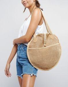 Buy ASOS BEACH Jute Circular Shopper Bag at ASOS. With free delivery and return options (Ts&Cs apply), online shopping has never been so easy. Get the latest trends with ASOS now. Potli Bags, Diy Tote Bag, Jute Bags, Purses And Handbags, Ladies Handbags, Denim Bag, Fabric Bags, Shopper Bag, Handmade Bags