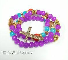 Raspberry Pizazz Cross Beaded Bracelet Set by RandRsWristCandy, $9.00