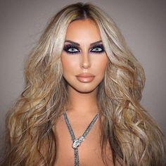 #makeup #eyemakeup #Purplemakeup #dramaticmakeup #makeupforblueeyes #blonde #wavyhair #nudelipstick #nudelipgloss #contouring #highlighting #glamorousmakeup
