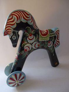 Vintage Swedish DALA Style HORSE/ Black Beauty w/ Stunning Scandinavian Ukrainian Russian Folk Art Painting/ Russian Vintage Toy Wood Horse