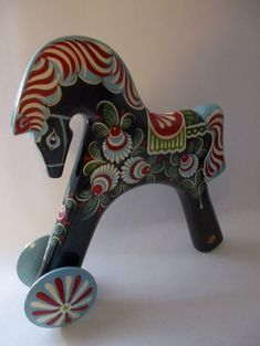 Vintage Swedish DALA Style HORSE/ Black Beauty w/ Stunning Scandinavian Ukrainian Russian Folk Art Painting/ Russian Vintage Toy Wood Horse