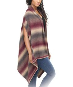 Love this Wine Stripe Sidetail Open Cardigan on #zulily! #zulilyfinds