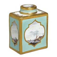 Meissen tea caddy made in Germany in 1740 - The porcelain is painted with harbor scenes viewed through exotic windows.